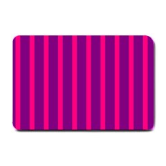 Deep Pink And Black Vertical Lines Small Doormat