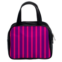 Deep Pink And Black Vertical Lines Classic Handbags (2 Sides)