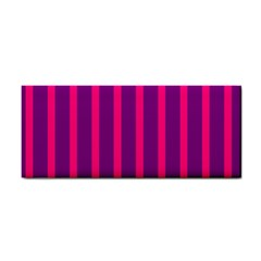 Deep Pink And Black Vertical Lines Cosmetic Storage Cases