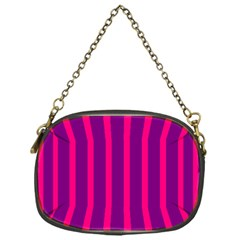 Deep Pink And Black Vertical Lines Chain Purses (one Side)