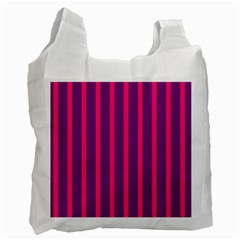 Deep Pink And Black Vertical Lines Recycle Bag (one Side)