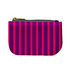 Deep Pink And Black Vertical Lines Mini Coin Purses