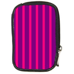 Deep Pink And Black Vertical Lines Compact Camera Cases