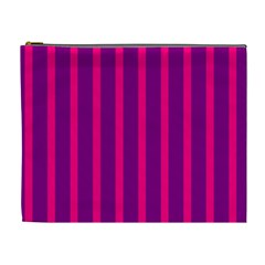 Deep Pink And Black Vertical Lines Cosmetic Bag (xl)