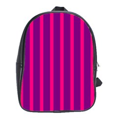 Deep Pink And Black Vertical Lines School Bags(large)
