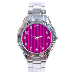 Deep Pink And Black Vertical Lines Stainless Steel Analogue Watch