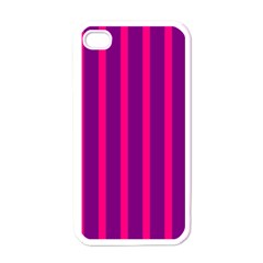 Deep Pink And Black Vertical Lines Apple Iphone 4 Case (white)