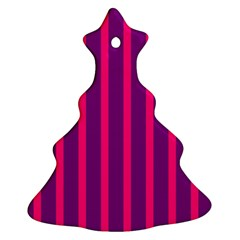 Deep Pink And Black Vertical Lines Christmas Tree Ornament (two Sides)