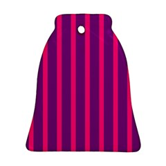 Deep Pink And Black Vertical Lines Bell Ornament (two Sides)