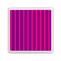 Deep Pink And Black Vertical Lines Memory Card Reader (square)