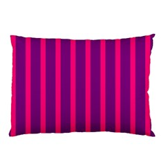 Deep Pink And Black Vertical Lines Pillow Case (two Sides)