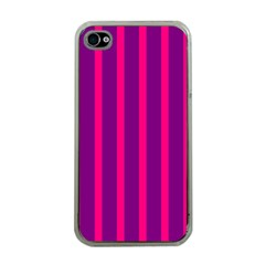Deep Pink And Black Vertical Lines Apple Iphone 4 Case (clear)