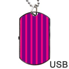 Deep Pink And Black Vertical Lines Dog Tag Usb Flash (one Side)