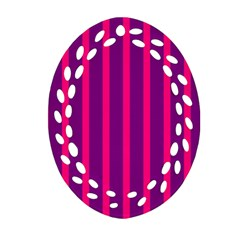 Deep Pink And Black Vertical Lines Oval Filigree Ornament (two Sides)