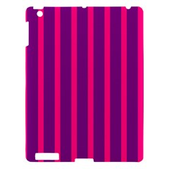 Deep Pink And Black Vertical Lines Apple Ipad 3/4 Hardshell Case
