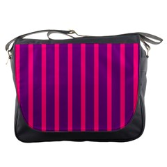 Deep Pink And Black Vertical Lines Messenger Bags
