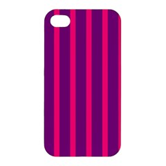 Deep Pink And Black Vertical Lines Apple Iphone 4/4s Premium Hardshell Case