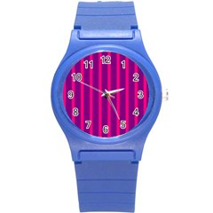 Deep Pink And Black Vertical Lines Round Plastic Sport Watch (s)