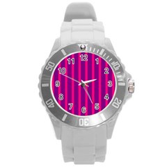 Deep Pink And Black Vertical Lines Round Plastic Sport Watch (l)