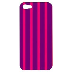 Deep Pink And Black Vertical Lines Apple Iphone 5 Hardshell Case