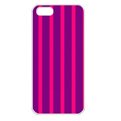 Deep Pink And Black Vertical Lines Apple Iphone 5 Seamless Case (white)