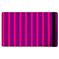 Deep Pink And Black Vertical Lines Apple Ipad 2 Flip Case