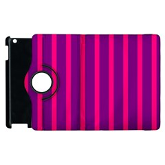 Deep Pink And Black Vertical Lines Apple Ipad 2 Flip 360 Case