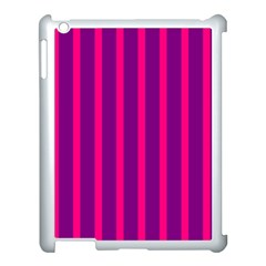 Deep Pink And Black Vertical Lines Apple iPad 3/4 Case (White)