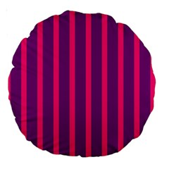 Deep Pink And Black Vertical Lines Large 18  Premium Round Cushions