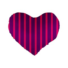 Deep Pink And Black Vertical Lines Standard 16  Premium Heart Shape Cushions