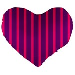 Deep Pink And Black Vertical Lines Large 19  Premium Heart Shape Cushions Front