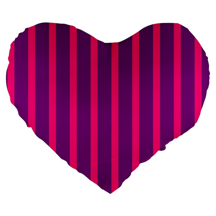 Deep Pink And Black Vertical Lines Large 19  Premium Heart Shape Cushions