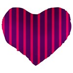 Deep Pink And Black Vertical Lines Large 19  Premium Heart Shape Cushions Back