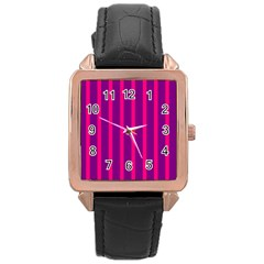 Deep Pink And Black Vertical Lines Rose Gold Leather Watch