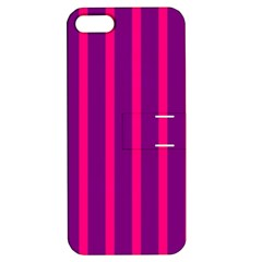 Deep Pink And Black Vertical Lines Apple Iphone 5 Hardshell Case With Stand