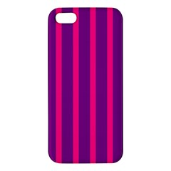 Deep Pink And Black Vertical Lines Apple Iphone 5 Premium Hardshell Case