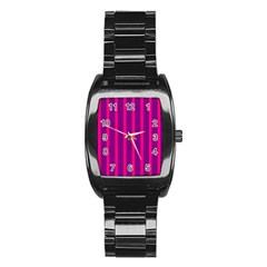 Deep Pink And Black Vertical Lines Stainless Steel Barrel Watch