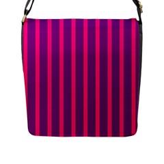 Deep Pink And Black Vertical Lines Flap Messenger Bag (l)