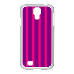 Deep Pink And Black Vertical Lines Samsung Galaxy S4 I9500/ I9505 Case (white)