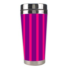 Deep Pink And Black Vertical Lines Stainless Steel Travel Tumblers