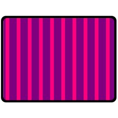 Deep Pink And Black Vertical Lines Double Sided Fleece Blanket (large)