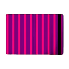 Deep Pink And Black Vertical Lines Ipad Mini 2 Flip Cases