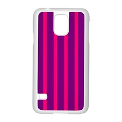 Deep Pink And Black Vertical Lines Samsung Galaxy S5 Case (white)