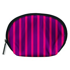 Deep Pink And Black Vertical Lines Accessory Pouches (medium)
