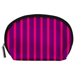 Deep Pink And Black Vertical Lines Accessory Pouches (large)