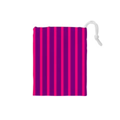 Deep Pink And Black Vertical Lines Drawstring Pouches (small)