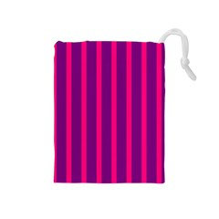 Deep Pink And Black Vertical Lines Drawstring Pouches (medium)