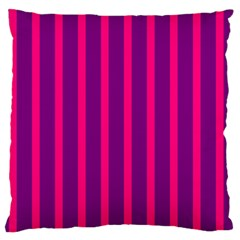 Deep Pink And Black Vertical Lines Standard Flano Cushion Case (two Sides)
