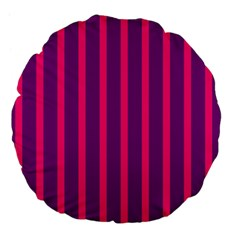 Deep Pink And Black Vertical Lines Large 18  Premium Flano Round Cushions