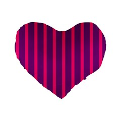 Deep Pink And Black Vertical Lines Standard 16  Premium Flano Heart Shape Cushions